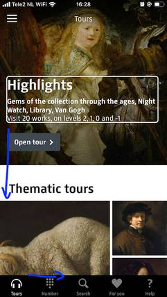Screen reader order in Rijksmuseum app (iOS).