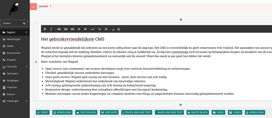 Voorbeeld Wagtail CMS Fabrique