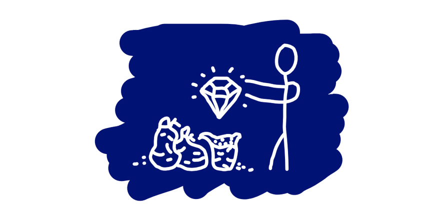 A stick figure that finds a hidden diamond while rifling through some very smelly trash bags.