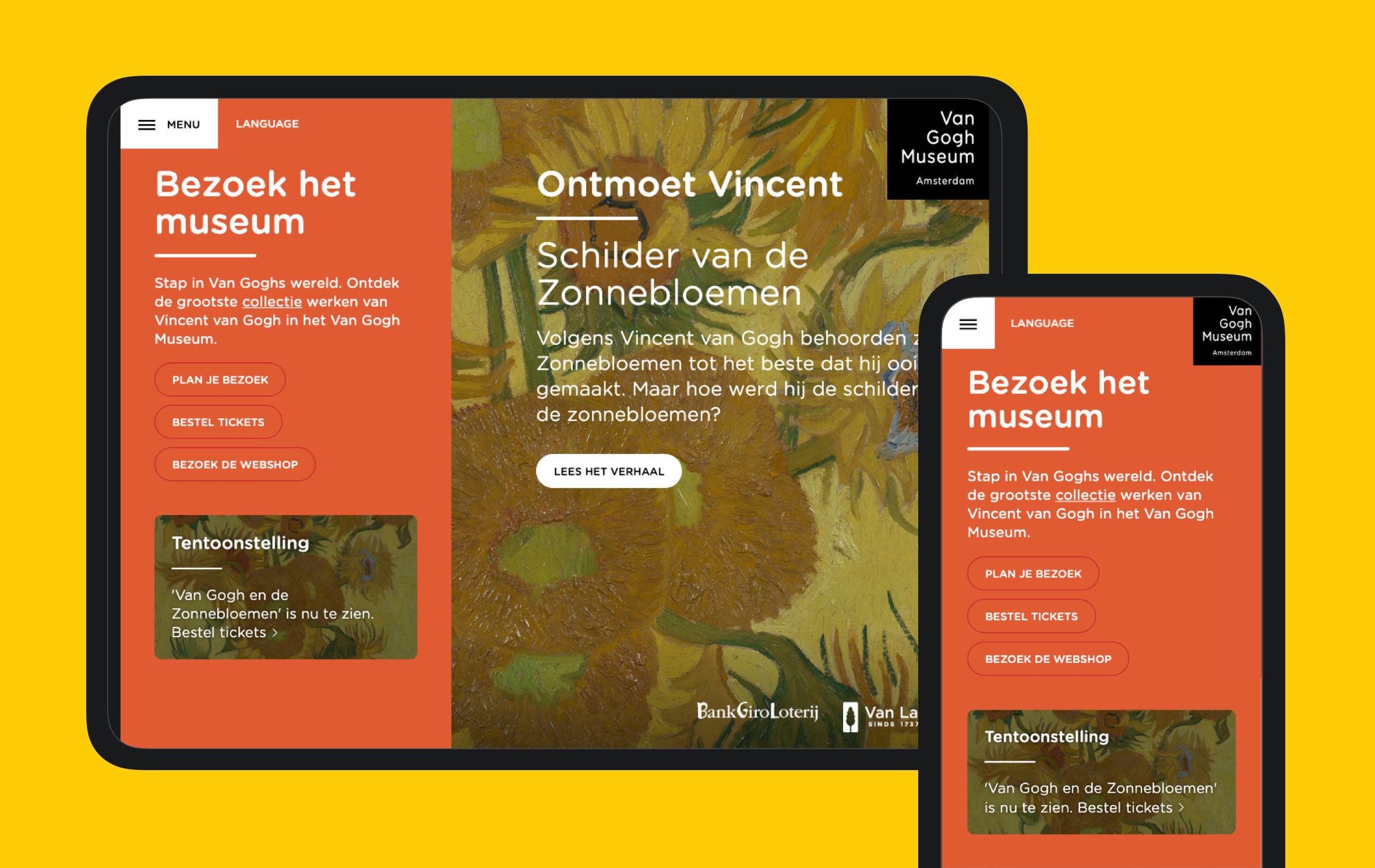 Website design Van Gogh Museum Fabrique
